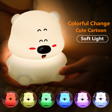 Touch Sensor Colorful LED Bear Night Light USB Rechargeable Cartoon Silicone Animal Bedroom Bedside Lamp for Children Kids Baby touch sensor colorful led cat night light silicone animal table lamp usb rechargeable bedroom bedside lamp for children baby