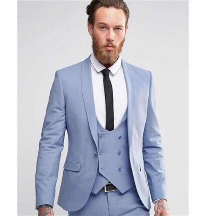 2020 New Design Three Pieces Men Formal Slim Suits Custom Made Groom Groomsmen Wedding Tuxedos Spring Dress (Jacket+Pants+Vest)