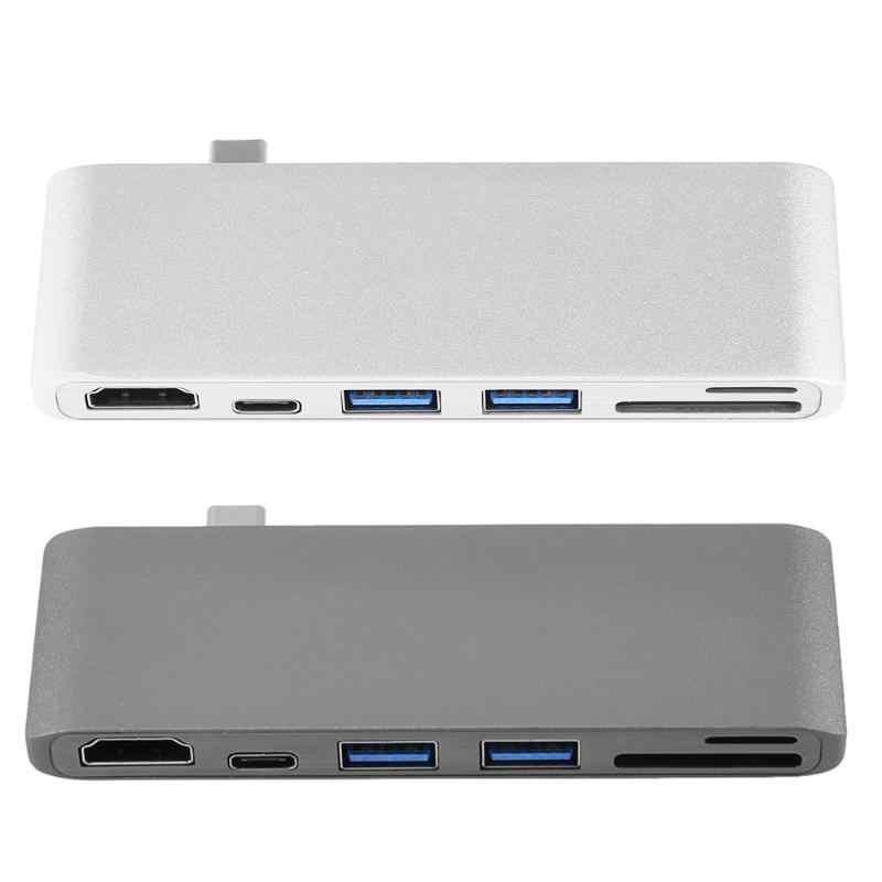 6 In 1 Type C Usb Hub Hdmi/Dual Usb 3.0/Type C/Sd Kaartlezer Poort combo Hub Adapter Voor Macbook Pro Mac Pc Laptop