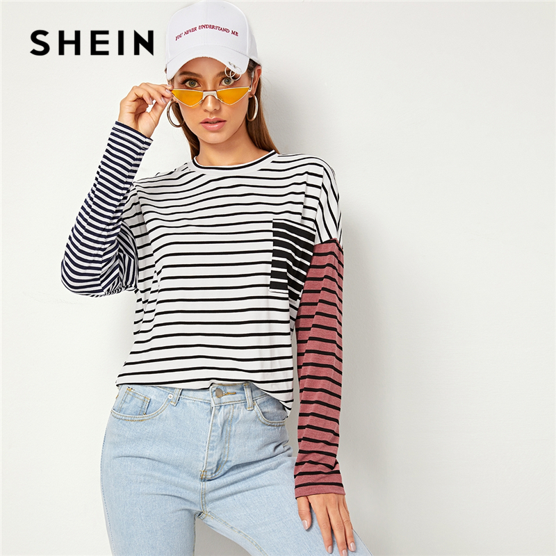 SHEIN Striped Print Drop Shoulder Pocket Front Casual T-Shirt Women Tops 2019 Autumn Streetwear Long Sleeve Colorblock Tee Tops