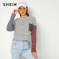 SHEIN Striped Print Drop Shoulder Pocket Front Casual T-Shirt Women Tops 2019 Autumn Streetwear Long Sleeve Colorblock Tee Tops