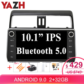 YAZH 2 Din Android 9.0 Touch Screen car player gps navigation radio for Toyota prado 2018 Multimedia System Head Unit OBD TPMS