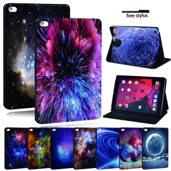 For Apple iPad mini 1 2 3 4 5 PU Printed Leather Tablet Stand Folio Cover-Ultra-thin Star space tablet Stand Case for ipad 2 3 4 5 6 7 air 1 2 3 pro 11 2018 2020 pu leather tablet stand folio cover ultra thin star colors slim case