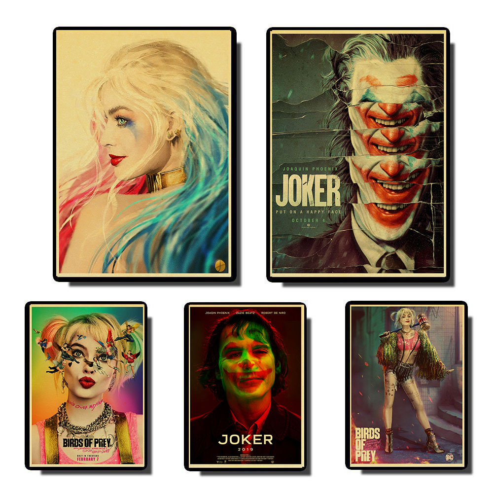Birds Of Prey Harley Quinn Joker Cool Retro Movie Poster Vintage Hd Prints Home Room Bar Wall Decoration Painting Calligraphy Aliexpress