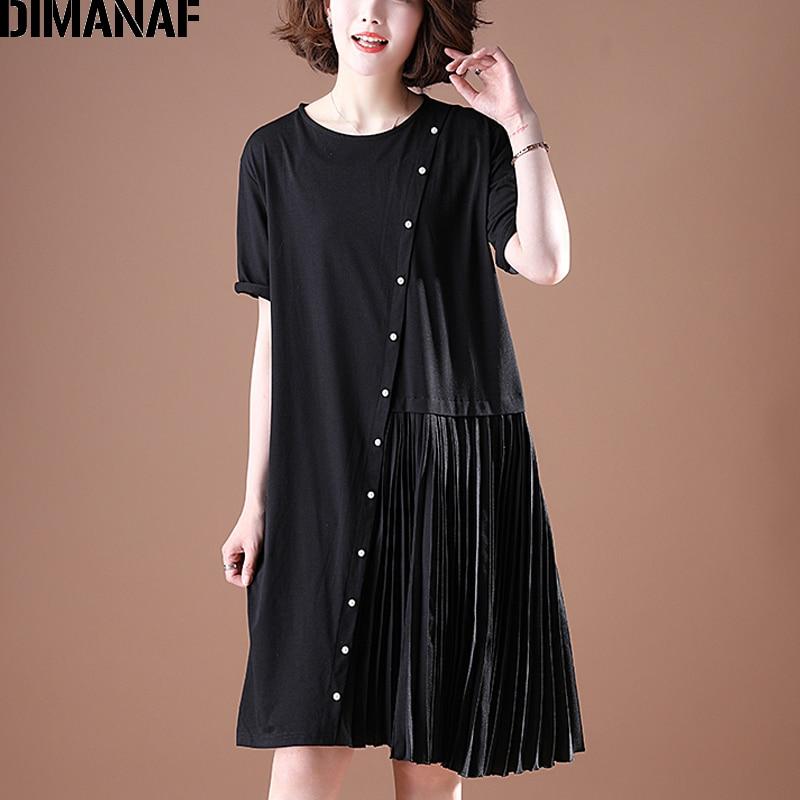 DIMANAF Plus Size Dress Women Clothing Summer Pleated Spliced Beading Loose Female Office Lady Sundress Vestidos Black Dress