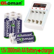 Бренд AA Аккумуляторная батарея 3800mah 1,5 V щелочной аккумулятор для светодиодная световая игрушка mp3 с зарядным устройством