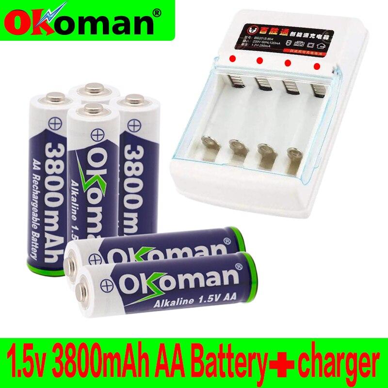 DSstyles 2//4Pcs 1.5V 1200mAh USB Rechargeable Quick Charging AA Li-po Battery Blue 2 pcs