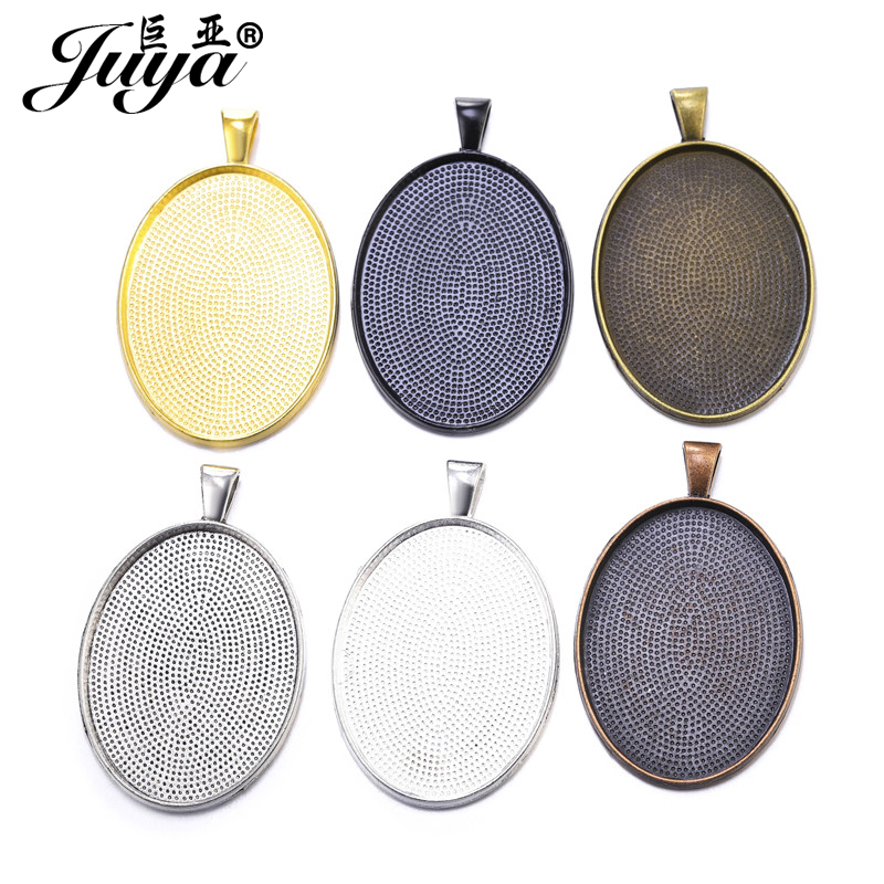5pcs/lot 40x30mm Oval Cabochon Base Setting Trays For Pendant Necklace DIY Jewelry Making Handmade Accessories Fit 40x30mm Glass
