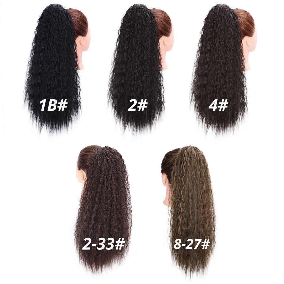 Doris Beauty długie Afro perwersyjne kręcone przedłużanie kucyka 22 Cal syntetyczne sznurki włosy kukurydziane dla kobiet czarny brązowy