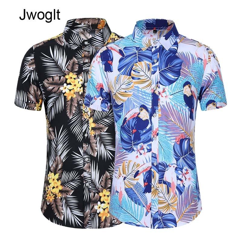17 Styles Fashion Summer Mens Short Sleeve Hawaiian Shirts Casual Floral Shirt Regular Fit Vacation Beach Clothing 5XL 6XL 7XL 1