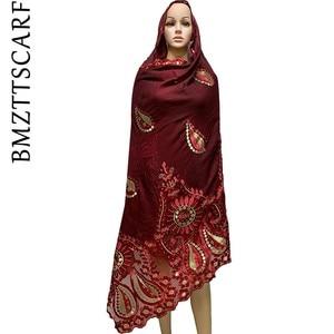 Image 4 - High Quality African Women Scarfs embroidery muslim women big cotton scarf for shawls BM947