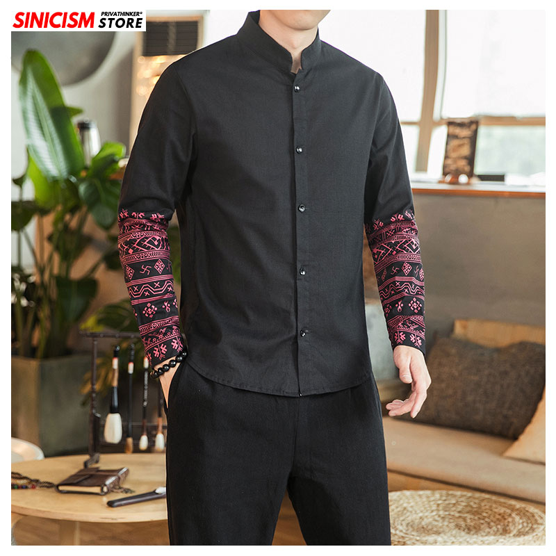 Sinicism Store Men Chinese Style Vintage Printed Shirts 2019 Mens Casual New Shirt Male Long Sleeve Clothes Oversize 5XL Autumn
