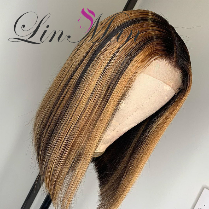 Lace Front Ombre Honey Color With Baby Hair Bob Wigs Straight Brazilian Remy Human Hair
