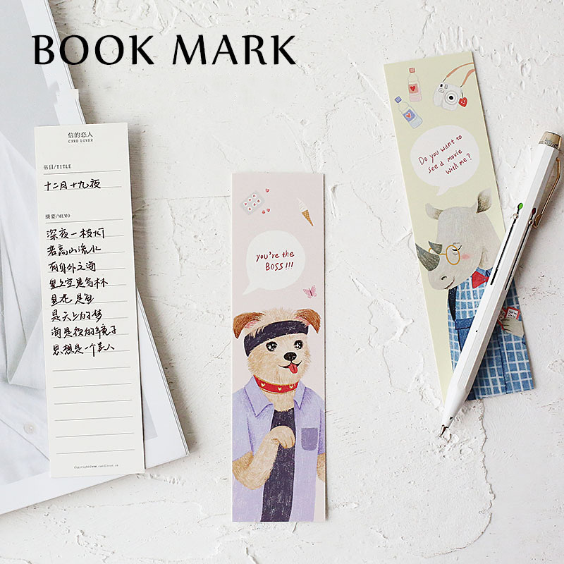 30pcs Pet Lover Bookmarks For Books Marker Set Cute Animal Greeting Card Paper Memo Stationery Gift Office School Supplies A6777