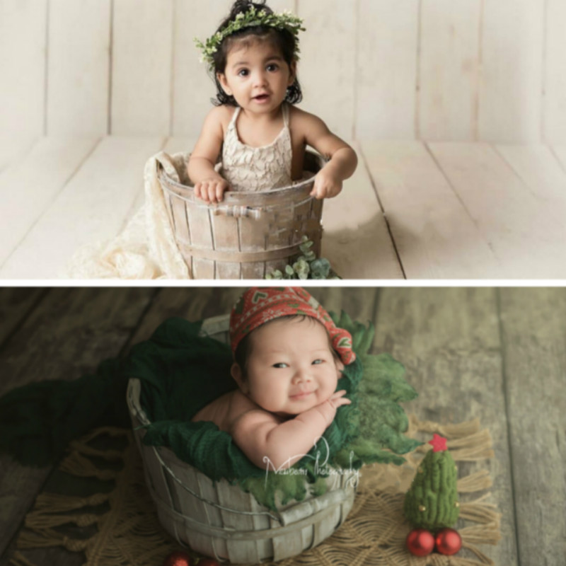 Baby Photography Props Wooden Posing Container Wooden Bucket Newborn Baby Shoot Accessories Studio Creative Retro Posing Props
