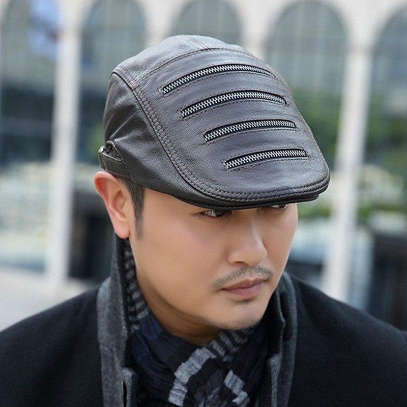SILOQIN Quality Genuine Leather Hat Man 39 s Trend Winter Fashion First Layer Sheepskin Berets Adjustable Leisure Warm Tongue Caps in Men 39 s Berets from Apparel Accessories