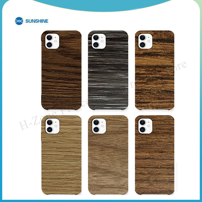 SUNSHINE 50pcs SS-057D backcover sticker wood grain For SS-890C for iPhone Samsung All Mobile Phone back glass Protective Film