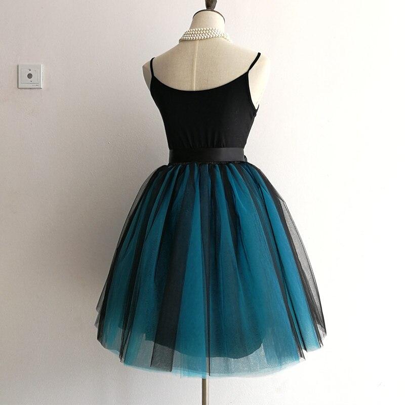 Streetwear 7 Layers 65cm Midi Pleated Skirt Women Gothic High Waist Tulle Skater Skirt rokjes dames ropa mujer 19 jupe femme 11