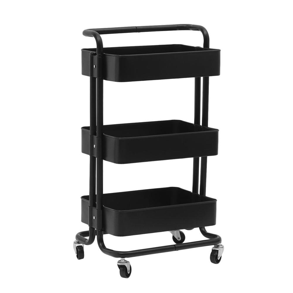 New Kitchen Trolley 3 Layers Office Cart Rolling Storage Rack Workshop Trolley With Four Wheels Portable Tool Storage Cart