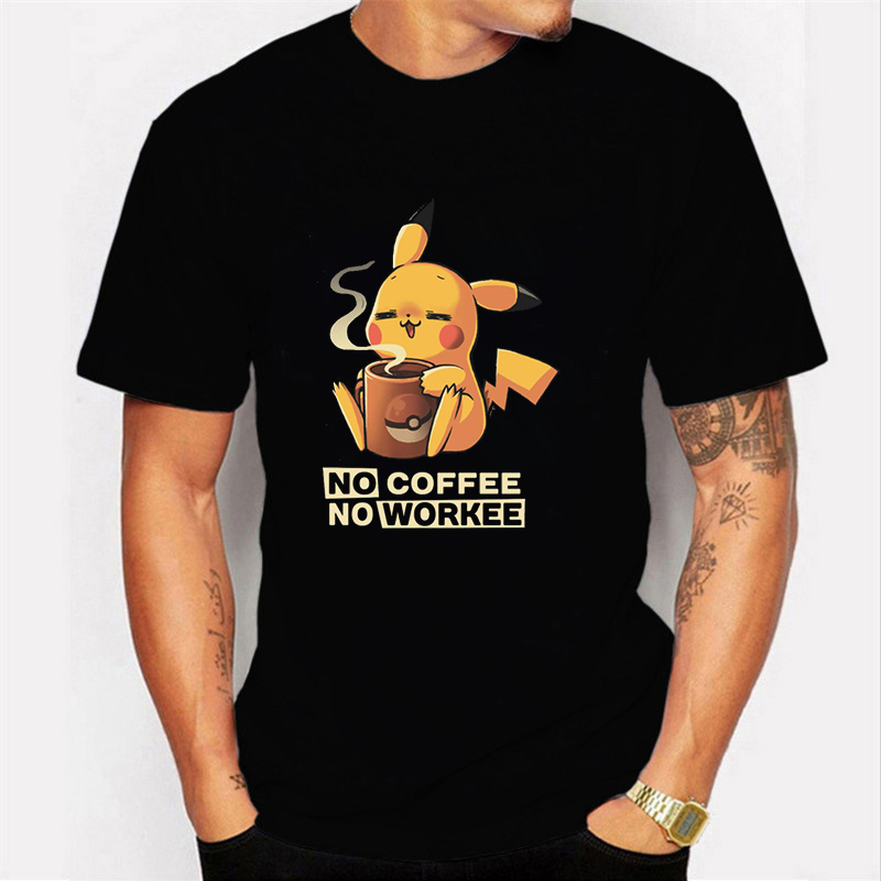 NO COFFEE NO WORKEE T Shirt PIKACHU POKEMON Tshirt Casual O-Neck Short Mens Shirts Funny T Shirts Black Men Tops Tees Clothing image