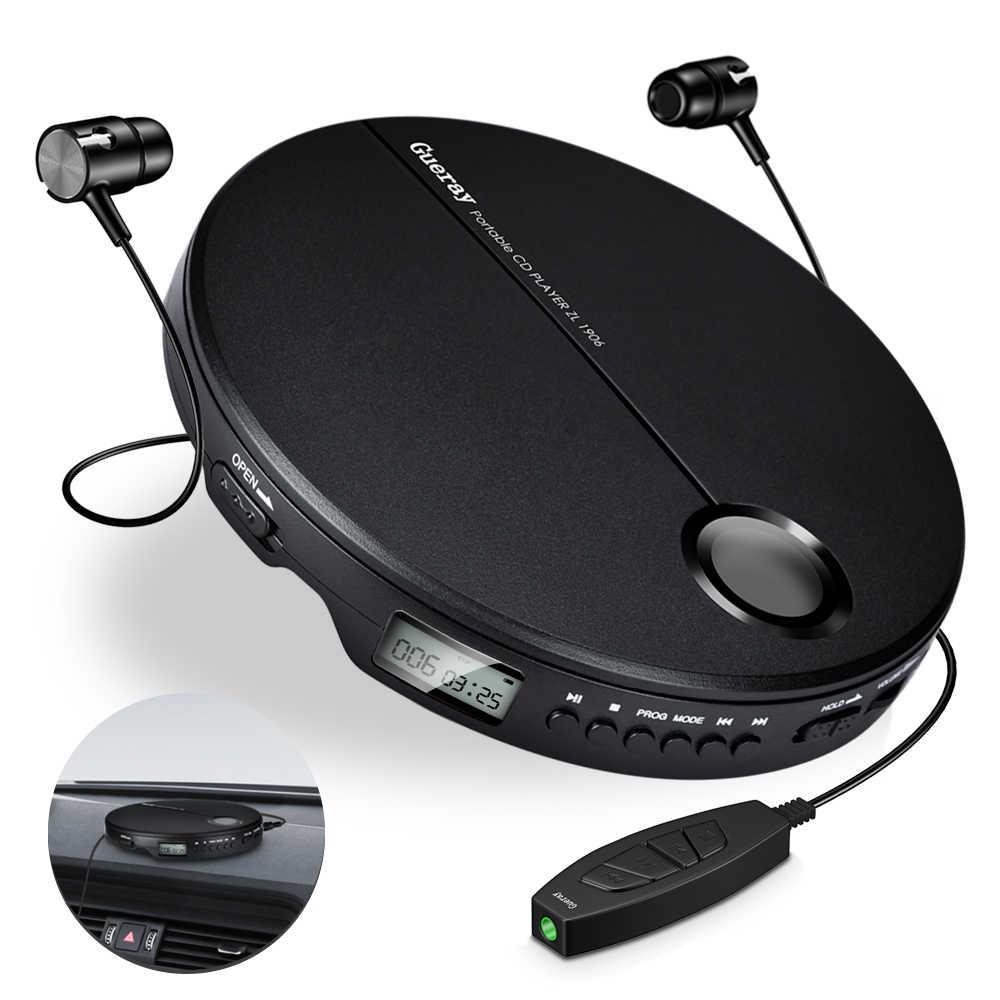 مشغل أقراص مضغوطة محمول مع سماعات أذن HiFi مشغل موسيقى مدمج جهاز كمبيوتر محمول مشغل أقراص CD مضاد للصدمات مشغل أقراص موسيقى للسيارة