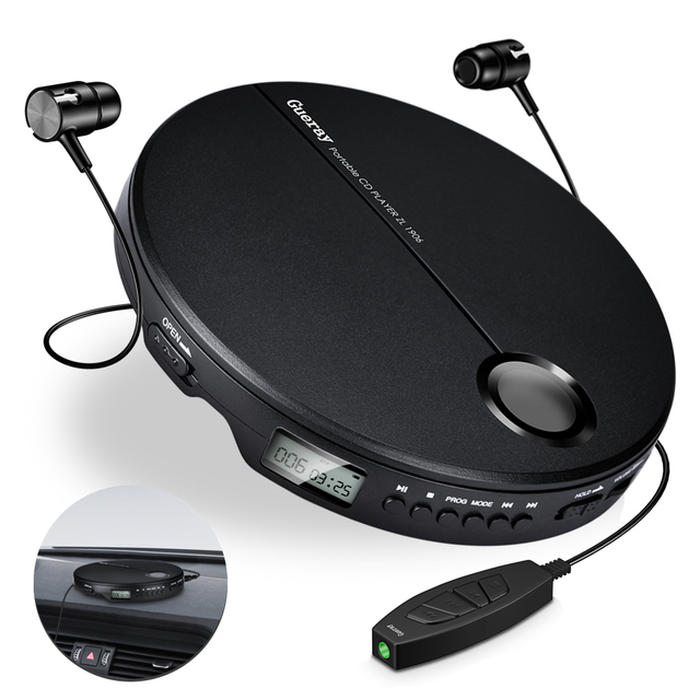 Portable CD Player with Earphones HiFi Music Compact Walkman Player Reproductor CD Anti Shock Personal Car Music Disc Player