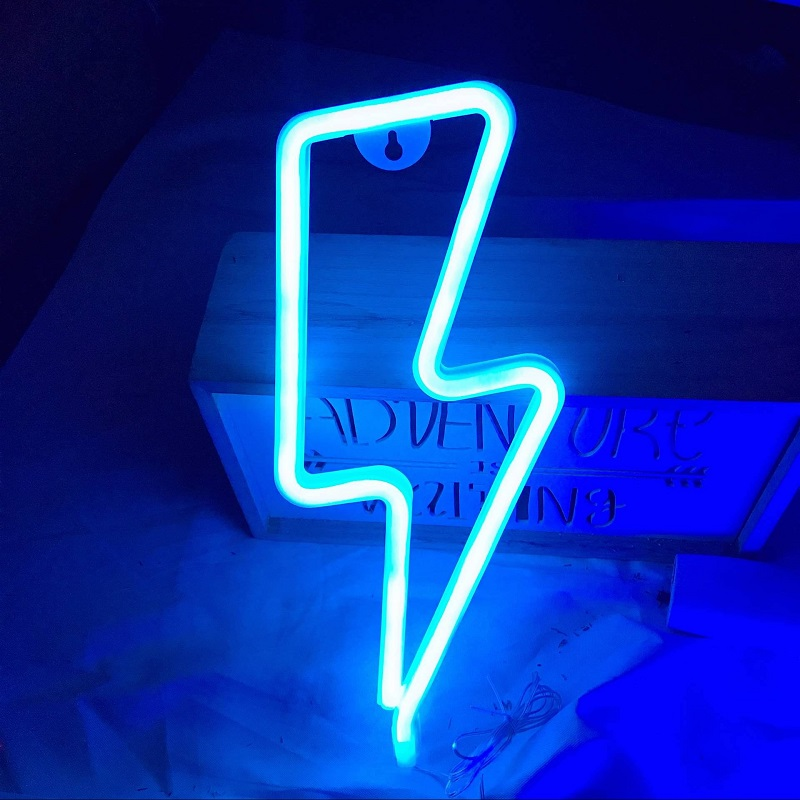 New LED Neon Sign Lightning Shaped USB Battery Operated Night Light Decorative Table Lamp For Home Party Living Room Decoration
