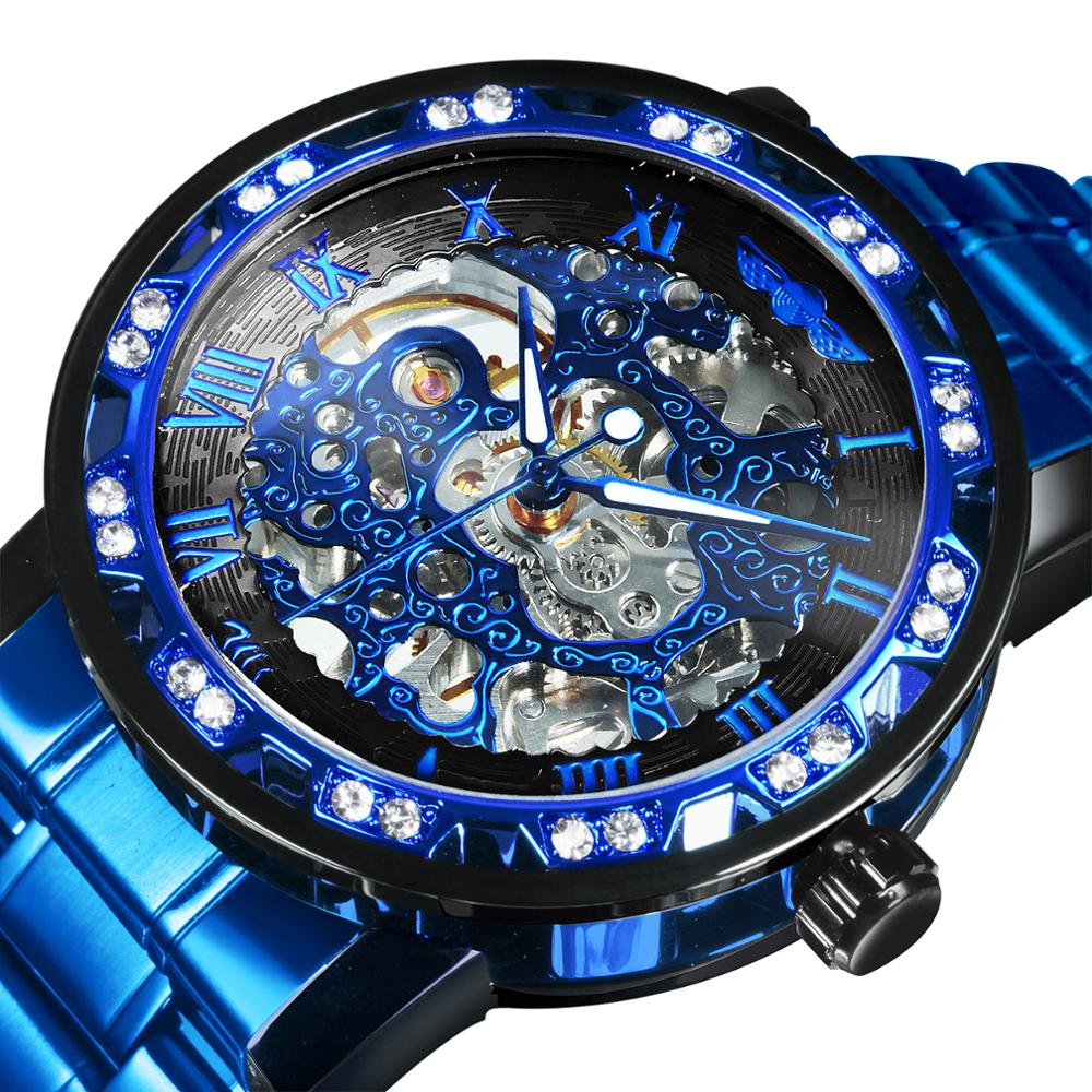 WINNER Mechanical Watch Men Skeleton Iced out Crystal Blue Golden Business Casual Transparent Male Metal Strap Dropshipping