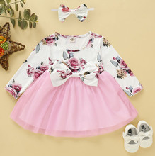 Infant Baby Girls Spring Dress Floral Patchwork Bow Dresses For Kids Tulle Children Party Princess Dress+Bow Headband #LR5 stylish bow embellished tiny floral pattern light blue headband for girls