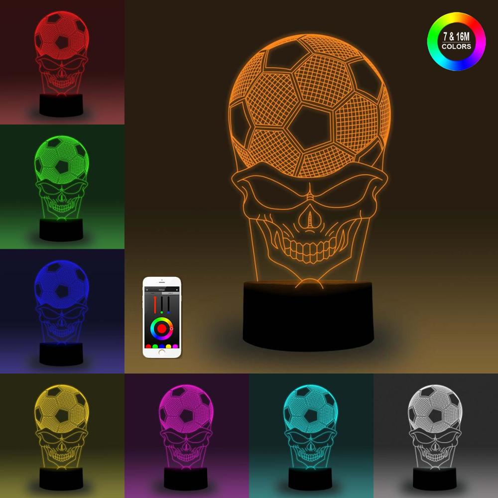 NiteApps 3D Skull Soccer Night Light Desk Table Illusion Decoration Lamp Holiday Birthday Gift APP/Touch Control