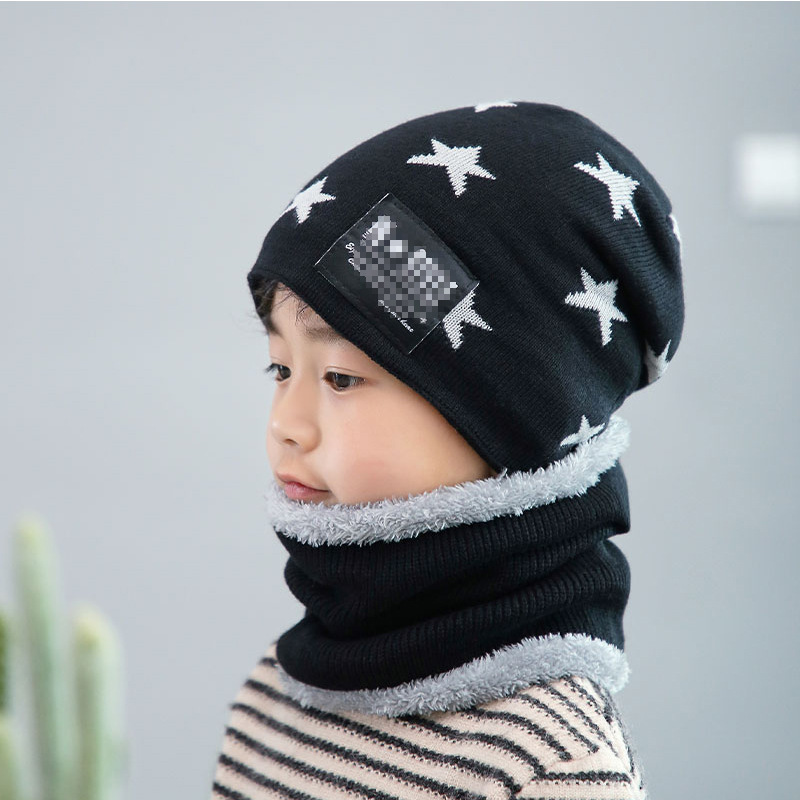 Children's Winter Wool Hat Scarf Set Korean Cute Fashion Thick Warm Knitted  For 4-12years Old Kid Boys
