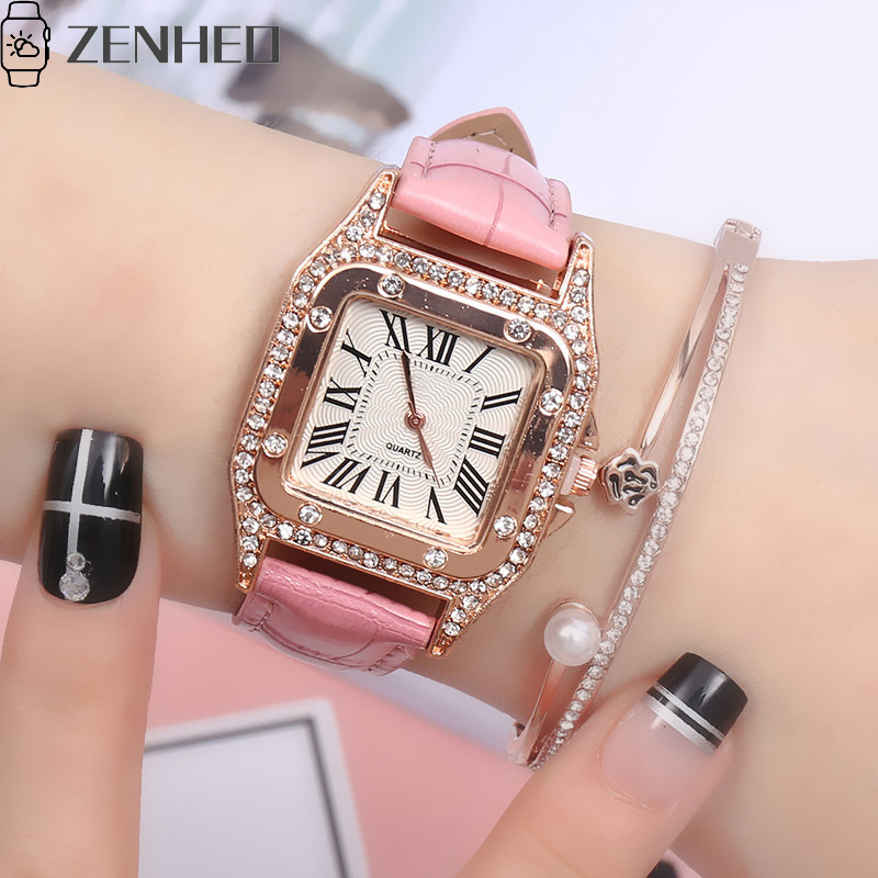 Women watch Beautiful delicate cortex pin buckle luxury fashion Wild ladies gift Square diamond roman numerals dial