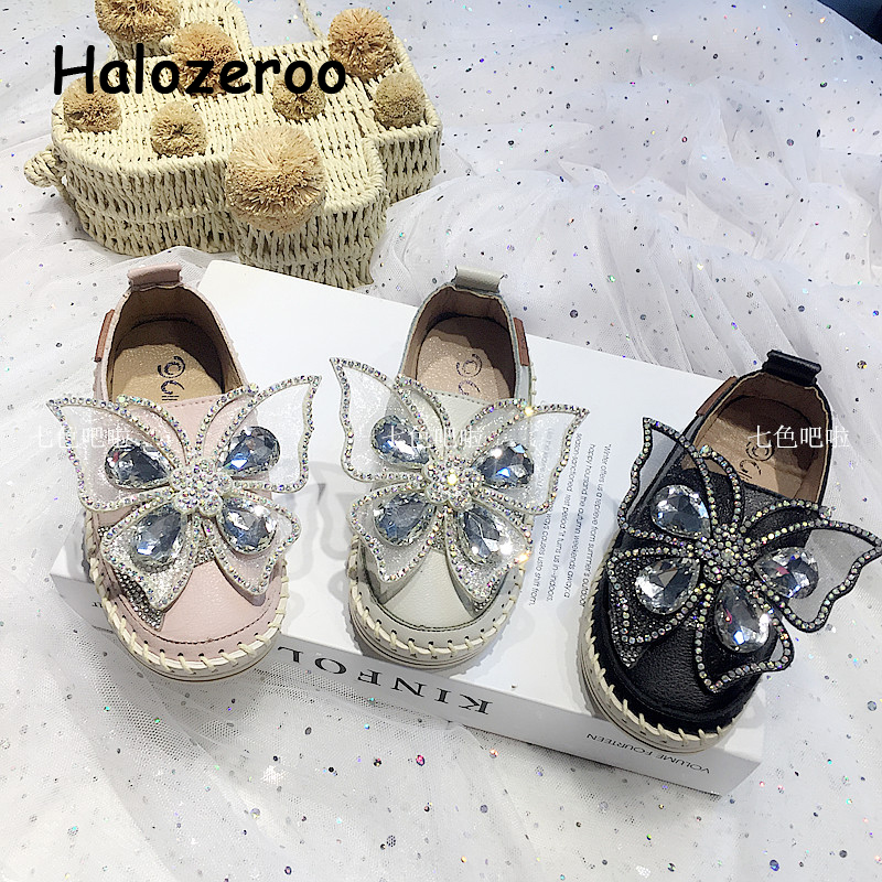 New Autumn Kids Casual Sneakers Baby Girls Rhinestone Shoes Children Pu Leather Sneakers Toddler Slip On Brand Sneakers Trainers