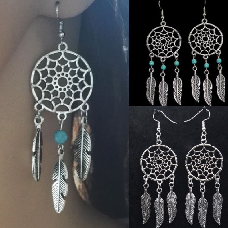 Pendientes Oorbellen Tin Alloy Trendy Feather Promotion 2020 Brinco Tassel Earrings Dream Dreamcatcher New Female Wholesale