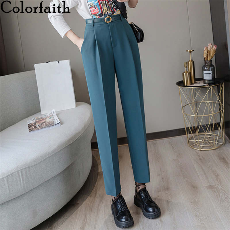 Colorfaith New 2019 Spring Winter Women Pants High Waist Loose Formal Elegant Office Lady Ankle Length With Belt Pants P7223|Pants & Capris|   - AliExpress
