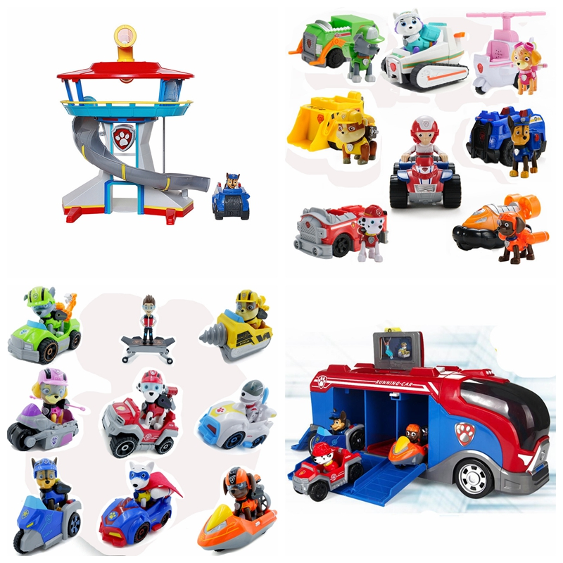 New Paw Patrol Dog Toy Puppy Patrol Marshall Rocky Zuma Rescue Big Bus Patrol Car Ryder Captain Toy Kids Birthday Chrismas Gift