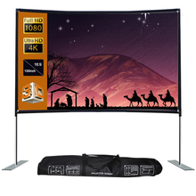 docooler Full HD 1080P 16:9 Projector Screen with Stable Base 100 120inch Home Outdoor Portable Ultra HD 4K Projector Screen