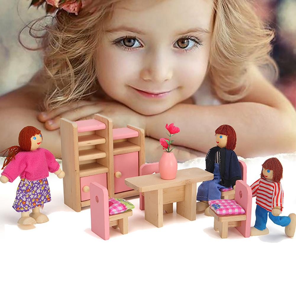 1/12 Scale Miniature Kids Dollhouse Toy Wooden Miniature Dollhouse Living Room Kitchen Furniture Set Pretend Play Toys For Kids