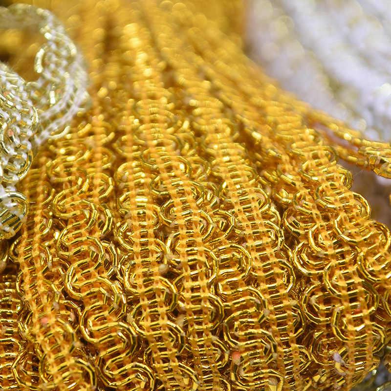 12 متر 24 متر الذهب الفضة حريش الدانتيل تقليم مضفر الترتر شريطة من الدانتيل للملابس اكسسوارات منحني الدانتيل الخياطة النسيج 5 مللي متر واسعة