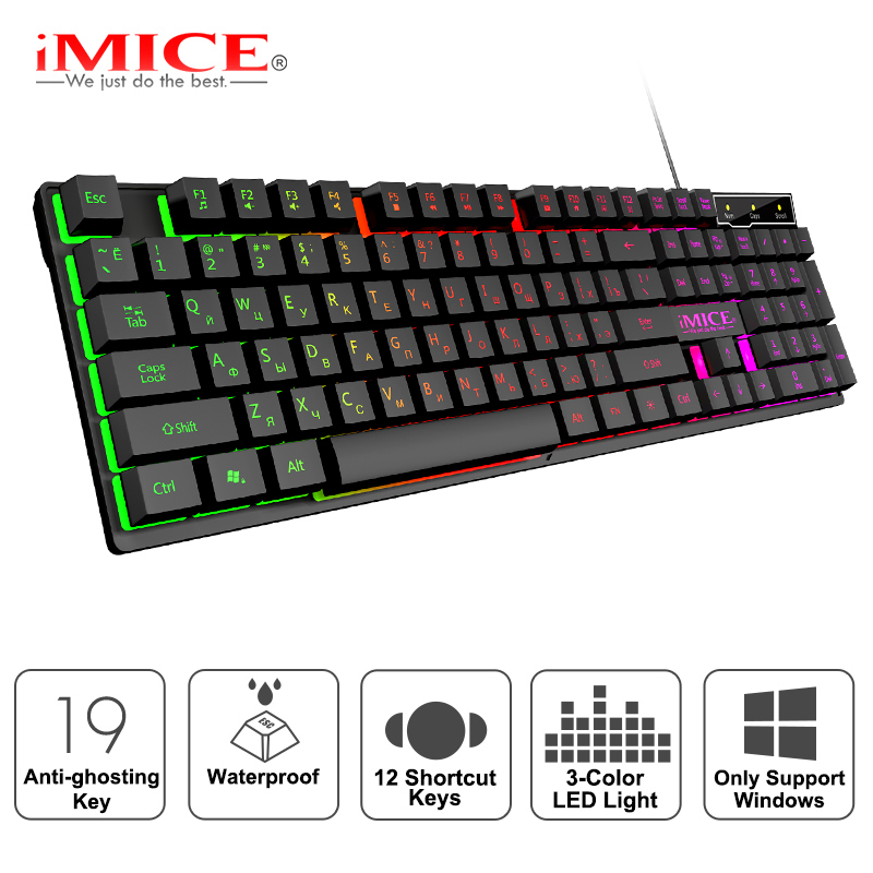 Gaming keyboard Gamer keyboard with backlight USB 104 Rubber keycaps RGB Wired Ergonomic Russian keyboard For Tablet Computer|Keyboards|   - AliExpress