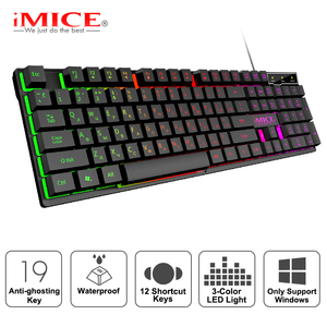 Gaming keyboard Gamer keyboard with backlight USB 104 Rubber keycaps RGB Wired Ergonomic Russian keyboard For PC laptop(China)