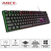 Gaming tastatur Gamer tastatur mit hintergrundbeleuchtung USB 104 Gummi tastenkappen RGB Wired Ergonomisches Russische tastatur Für Tablet Computer