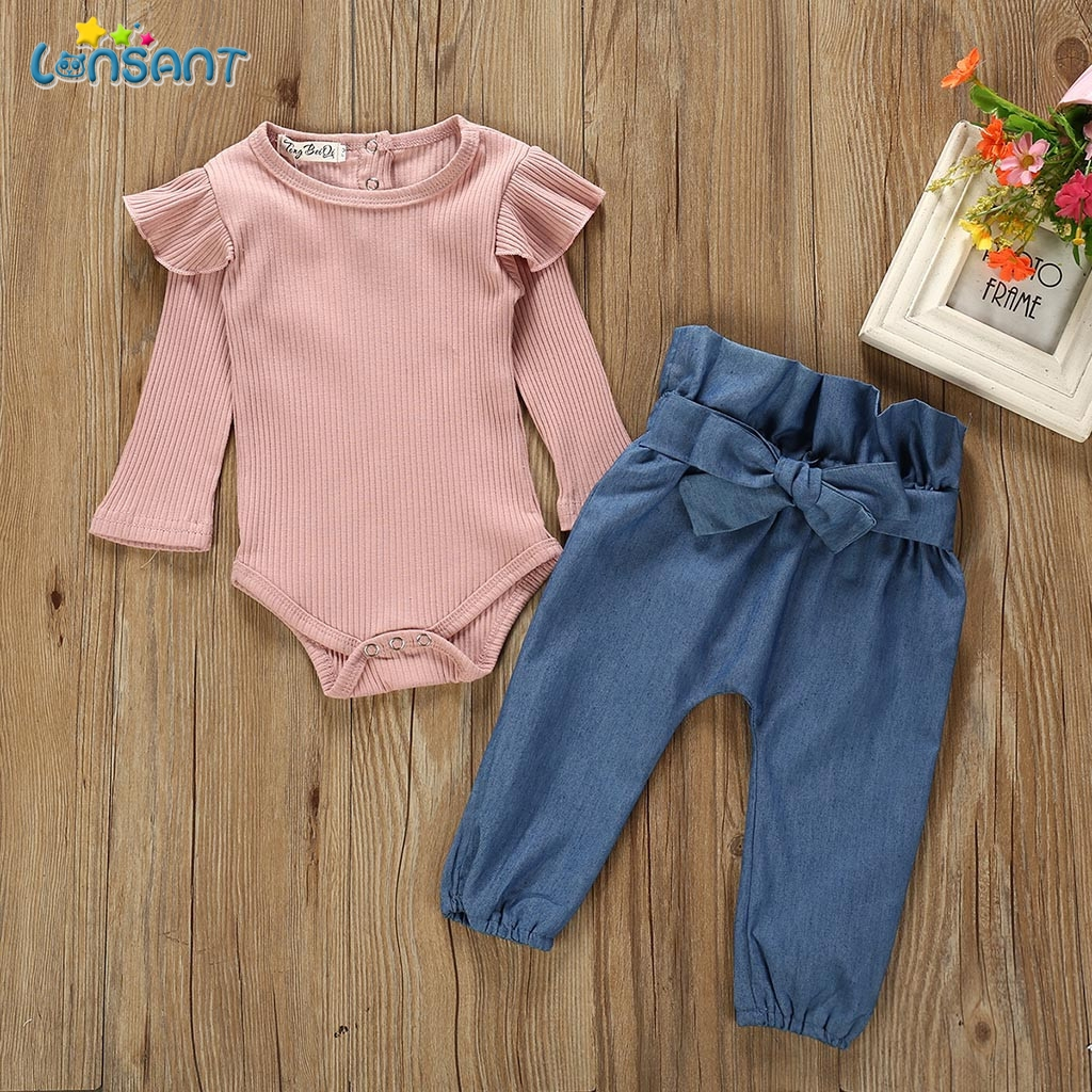 LONSANT Children Clothing Set Newborn Kids Baby Girls Long Sleeve Outfits Clothes Romper Bodysuit+Denim Pants Jeans Costume Set
