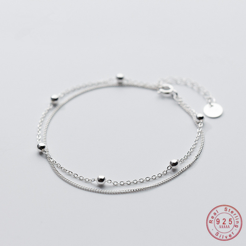 WANTME Genuine 100% Sterling Silver Jewelry Double Gloss Bead Cross Rope Popcorn Chain Bracelet Women Girls Teen Students Gift