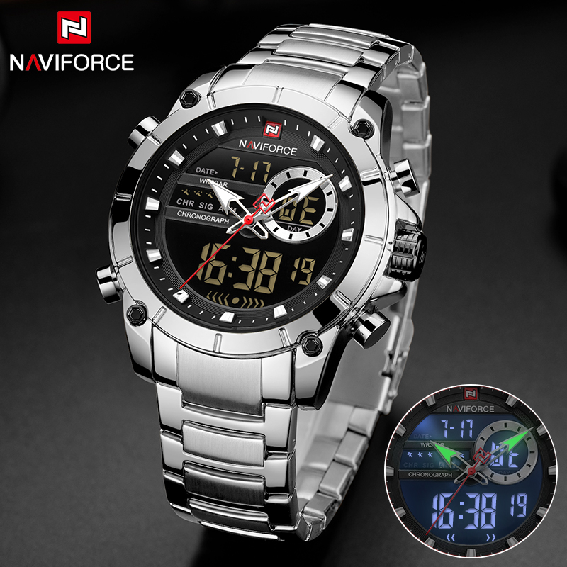 Mens Watches NAVIFORCE 9163 Men Military Sport Wristwatch Stainless Steel Waterproof Quartz Male Clock Watches Relogio Masculino