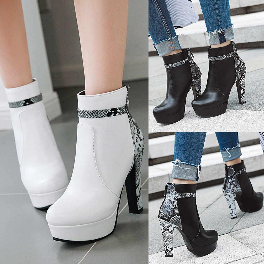 Kadın yılan derisi deri kış çizmeler yuvarlak ayak Stiletto kalın topuk ayakkabı kadın fermuar yılan dikiş yarım çizmeler botas mujer