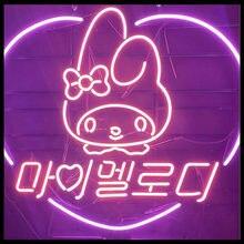 Neon Sign 10KV Hello Cute Girl Neon Light Korean Kitt Wall Sign Window Advertise Lamp Decor Home Real Glass Aesthetic Room Decor