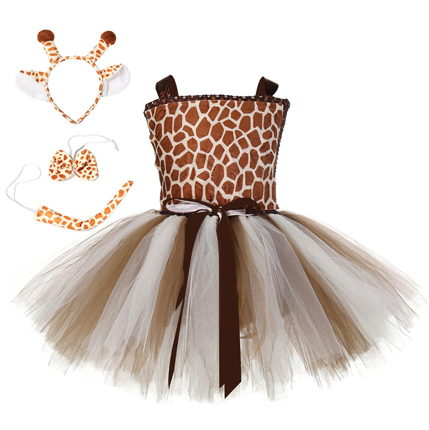 Giraffe Girl Tutu Dress With Matching Headband Set Baby Kids Cute Animal Role Play Costume Outfit Clothes For Halloween Birthday