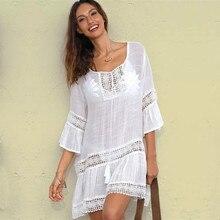 Bamboo Cotton Summer Pareo Beach Cover Up Sexy Swimwear Women Swimsuit Cover Up Kaftan Beach Dress Tunic White Beachwear #Q382
