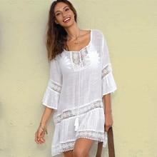 Bambu pamuk yaz Pareo plaj Cover Up seksi mayo kadınlar mayo örtbas Kaftan plaj elbisesi tunik beyaz Beachwear # q382